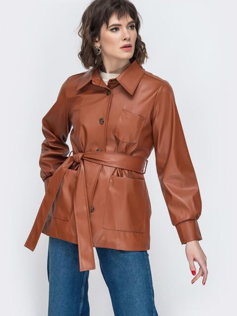 Терракотовая куртка из эко-кожи с широкими рукавами - 44945, фото 1 – интернет-магазин Dressa