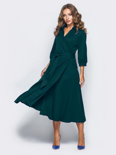 Платье-халат зелёного цвета с отложным воротником 19802, фото 1