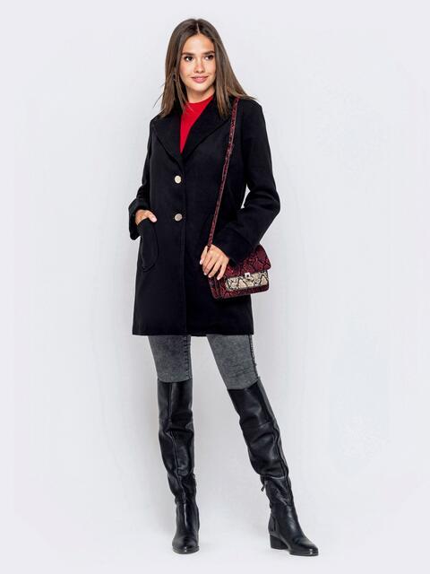 Чёрное пальто с накладными карманами - 40431, фото 1 – интернет-магазин Dressa