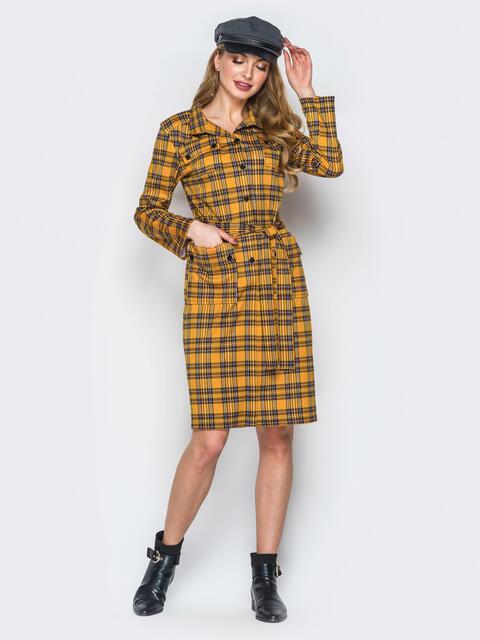 Горчичное платье-рубашка в клетку с накладными карманами - 19806, фото 1 – интернет-магазин Dressa