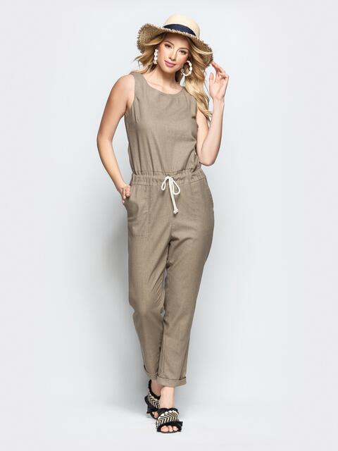 Комбинезон с кулиской по талии и накладными карманами бежевый - 21871, фото 1 – интернет-магазин Dressa