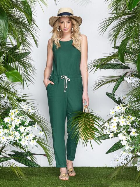 Комбинезон с кулиской по талии и накладными карманами зеленый - 21872, фото 2 – интернет-магазин Dressa