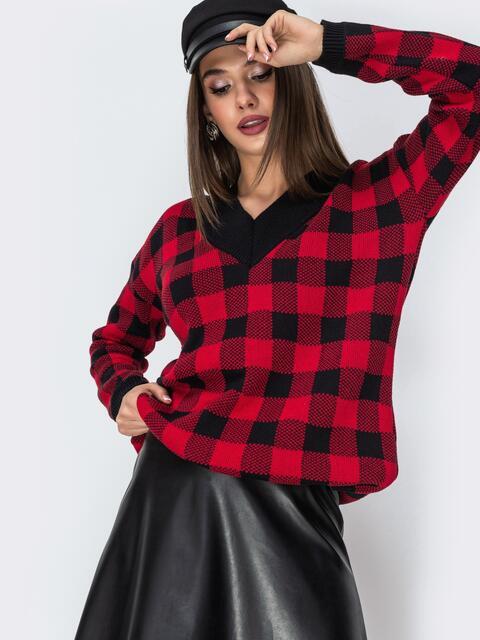 Красный свитер в клетку с V-образным вырезом - 42195, фото 1 – интернет-магазин Dressa