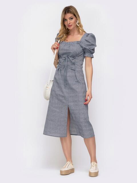 """Льняное платье синего цвета с рукавом """"фонарик"""" 48084, фото 1"""