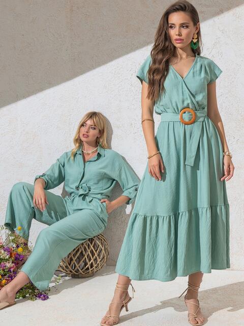 Расклешенное платье мятного цвета с воланом по низу - 49368, фото 1 – интернет-магазин Dressa