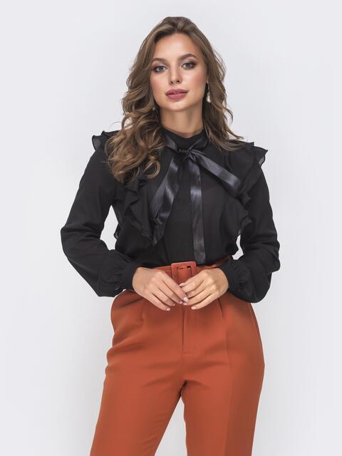 Шифоновая блузка с воротником-аскот и рюшами чёрная - 41603, фото 1 – интернет-магазин Dressa