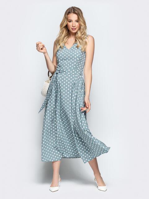 Силуэтное платье голубого цвета в горох - 46850, фото 1 – интернет-магазин Dressa