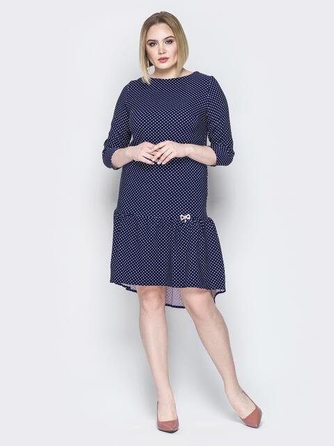 Синее платье с воланом по низу и пуговицами сзади - 19764, фото 1 – интернет-магазин Dressa