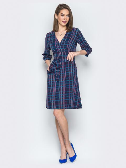 Тёмно-синее платье в клетку на запах - 19803, фото 1 – интернет-магазин Dressa