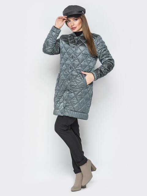 Удлиненная куртка-бомбер на кнопках с карманами зелёный - 20282, фото 1 – интернет-магазин Dressa