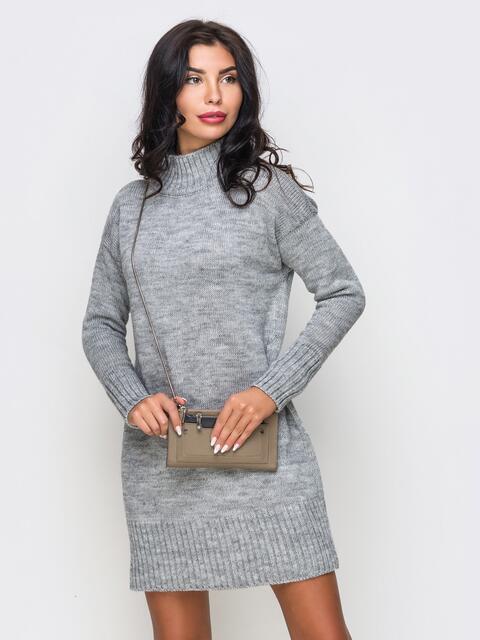 Вязаное платье свободного кроя с широким воротником - 13167, фото 2 – интернет-магазин Dressa