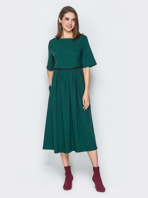 Зелёное платье с завышеной талией и рукавом-колокол - 19814, фото 1 – интернет-магазин Dressa