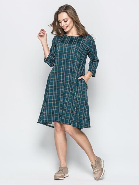 Зелёное платье-трапеция в клетку со шлейфом - 19810, фото 1 – интернет-магазин Dressa