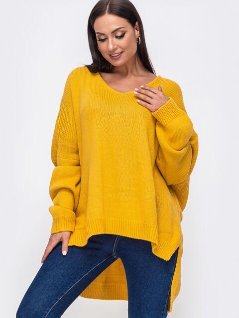 Жёлтый свитер большого размера с V-образным вырезом 51304, фото 1