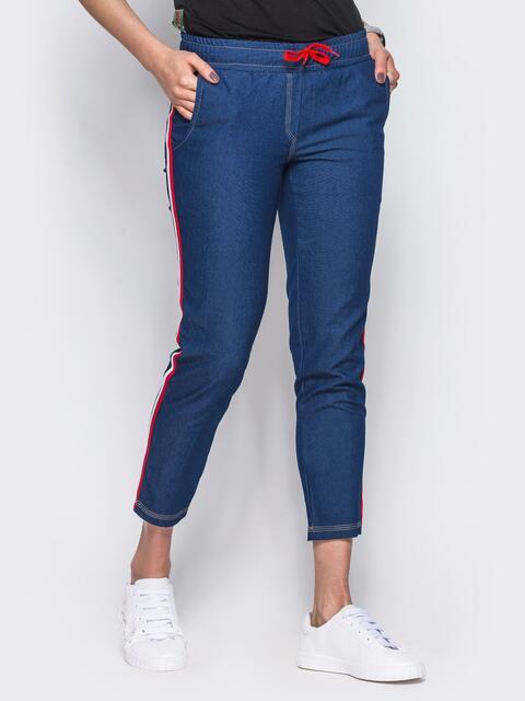 Джинсовые брюки с цветными лампасами синие - 10335, фото 1 – интернет-магазин Dressa
