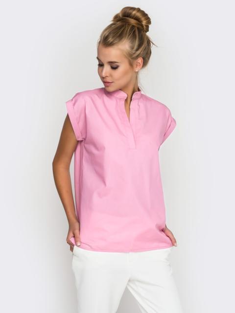 Хлопковая блузка прямого кроя розовая - 38730, фото 1 – интернет-магазин Dressa