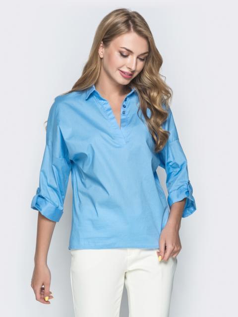 Хлопковая рубашка со спущенной линией плеч голубая - 38866, фото 1 – интернет-магазин Dressa