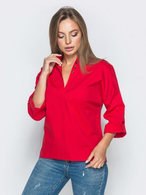 Хлопковая рубашка со спущенной линией плеч красная - 38865, фото 1 – интернет-магазин Dressa