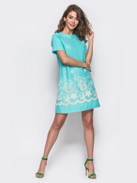 3d466a32b9f Льняное короткое платье с прошвой по низу голубое 11180 – купить в ...