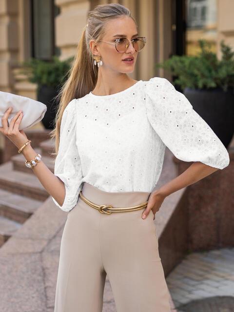 Прямая блузка из прошвы с объемными рукавами молочная 50047, фото 1