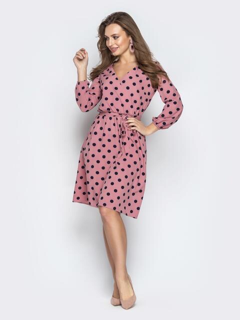 Розовое платье в горох с запахом и рукавами на резинке 21001, фото 1