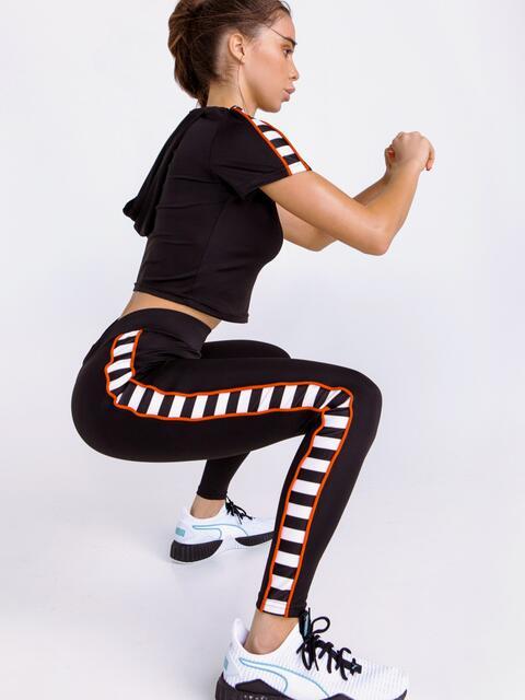 Спортивный комплект из лосин с высокой посадкой и топа чёрный - 44612, фото 1 – интернет-магазин Dressa