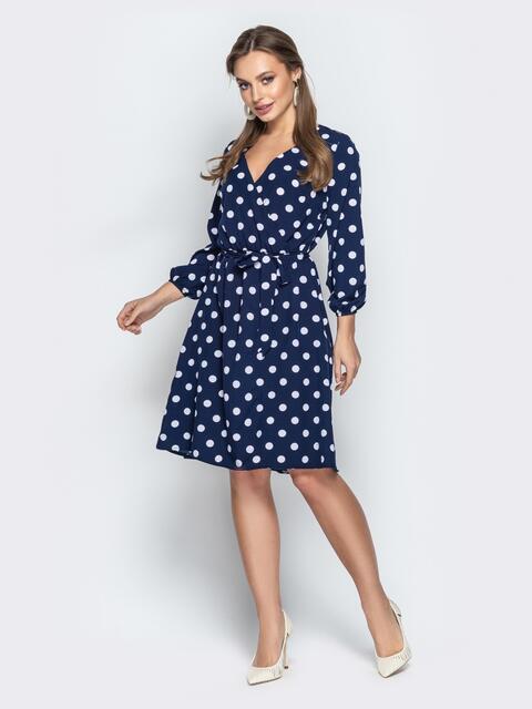 Тёмно-синее платье в горох с запахом и рукавами на резинке - 21000, фото 1 – интернет-магазин Dressa