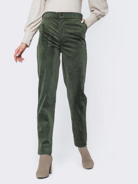 Вельветовые брюки со средней посадкой зеленые - 44826, фото 1 – интернет-магазин Dressa
