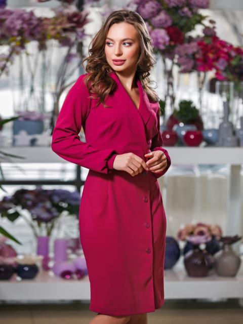 Бордовое платье отрезное по талии с фиксированным запахом - 20007, фото 1 – интернет-магазин Dressa