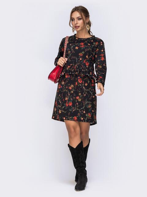 Чёрное платье с цветочным принтом и оборкой по талии - 42521, фото 1 – интернет-магазин Dressa