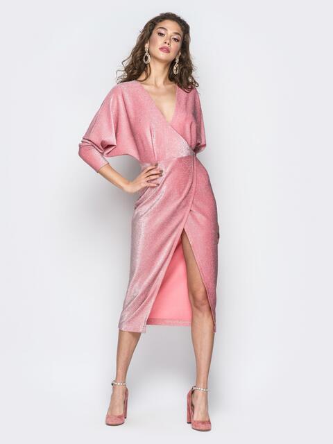 """Платье с вырезом и рукавами """"летучая мышь"""" розовое 18374, фото 1"""