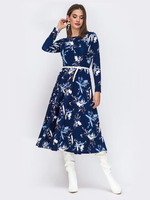 Синее платье с растительным принтом и расклешенной юбкой - 42519, фото 1 – интернет-магазин Dressa