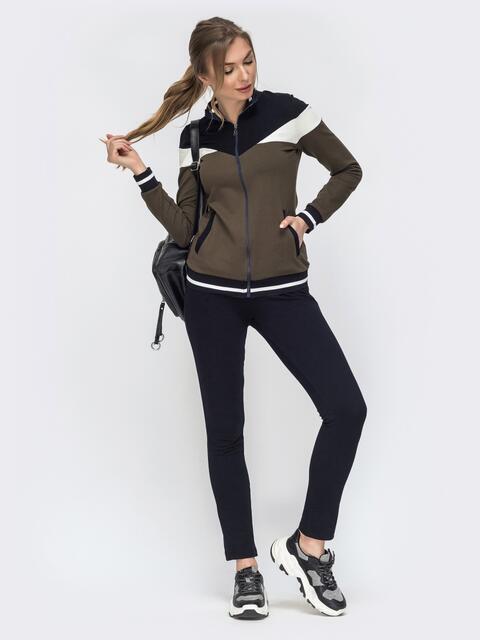 Спортивный костюм с контрастными вставками на кофте хаки - 45610, фото 1 – интернет-магазин Dressa