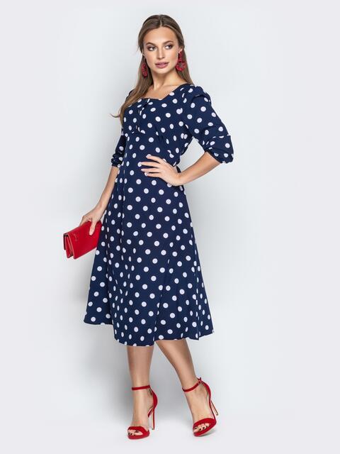 Тёмно-синее платье из софта в горох с отрезным лифом - 21024, фото 1 – интернет-магазин Dressa