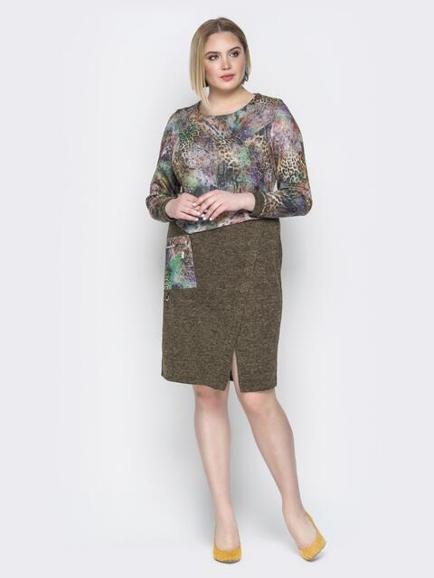 Зелёное платье на ложный запах с карманом - 20203, фото 1 – интернет-магазин Dressa