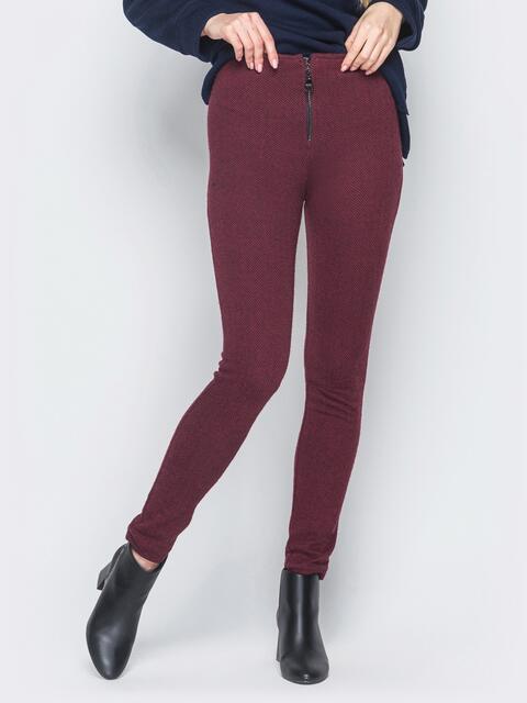 """Бордовые брюки-скинни с узром """"елочка"""" 18877, фото 1"""