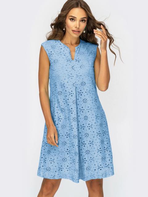 Голубое платье-трапеция со встречными складками по полочке 54337, фото 1