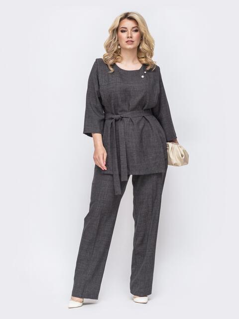 Комплект большого размера из кофты и брюк серого цвета 49919, фото 1