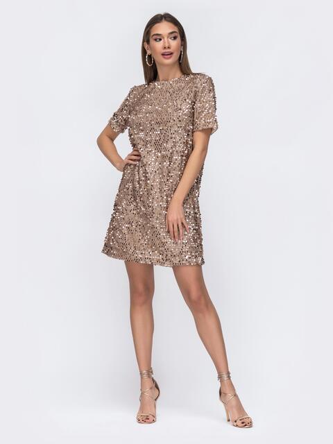 Платье бежевого цвета с пайетками - 42641, фото 1 – интернет-магазин Dressa