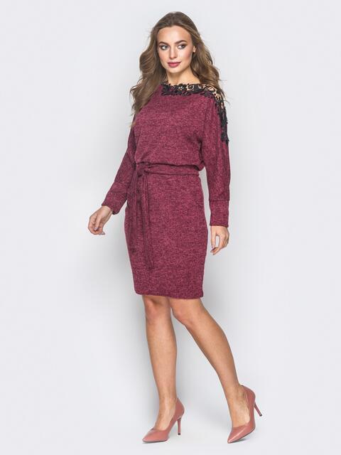 Платье с разрезами вдоль рукавов бордовое - 18566, фото 1 – интернет-магазин Dressa