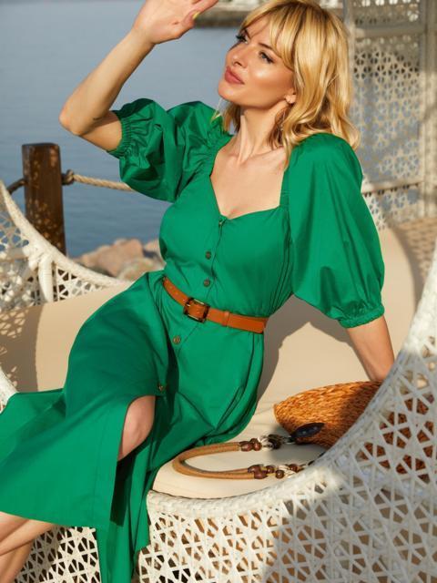Расклешенное платье зеленого цвета с коротким рукавом 54241, фото 1