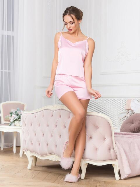 Розовая пижама с топом и шортами - 18911, фото 1 – интернет-магазин Dressa