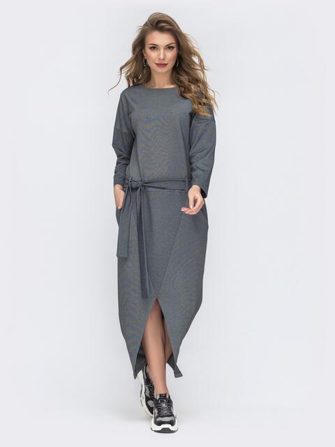 """Серое платье с рукавом """"летучая мышь"""" 44201, фото 1"""