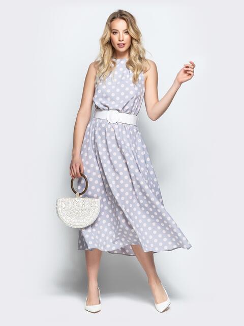 Серое платье в горох приталенного кроя с американской проймой - 22072, фото 1 – интернет-магазин Dressa