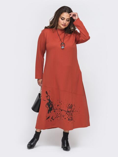 Терракотовое платье батал с карманами и принтом на полочке 50994, фото 1