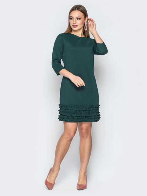 Зелёное платье с пуговищами сзади и рюшами 19368, фото 1