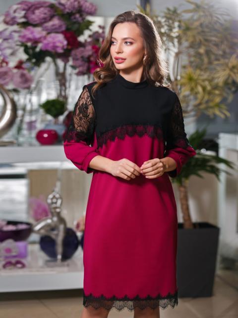 Бордовоое платье с контрастной кокеткой и кружевом - 20034, фото 1 – интернет-магазин Dressa