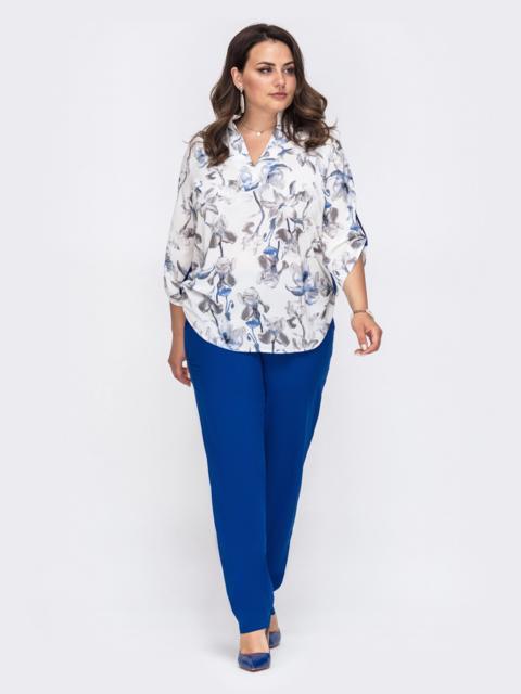 Брючный комплект батал с принтованной блузкой синий 49964, фото 1