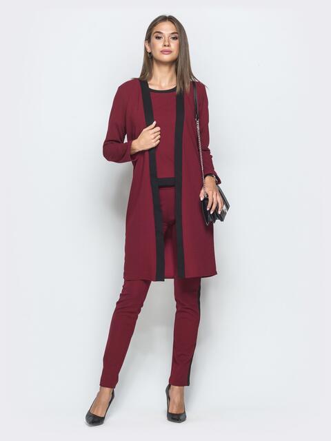 Брючный комплект-тройка бордового цвета - 39986, фото 1 – интернет-магазин Dressa