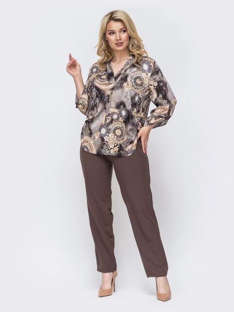 Брючный костюм батал с принтованной блузкой коричневый 49967, фото 1